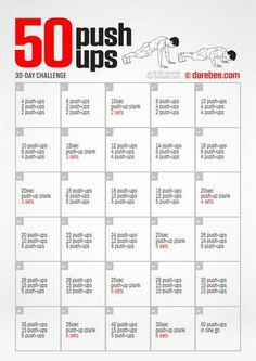 Build up to 50 push ups in a month - 30 day fitness challenge. Bodyweight Upper Body Workout, Abs Workout Video, Cardio, Workout Plans, Workout Routines, Push Up Challenge, 30 Day Workout Challenge, 50 Push Ups, Beach Body Ready