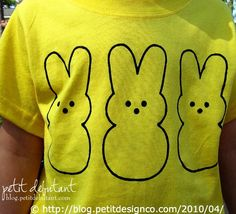 """DIY Easter Bunny PEEPS®™ Shirt Stencil. """"Template for your own personal use & not for items that are for sale. You may not re-format the image for to a .gsd (or any other format) for sale.  © Norma, Petit Design Co. All she asks is if you post her images, that you link directly back to her site. Seems little enough to ask."""