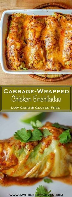 Cabbage Wrapped Chicken Enchiladas - A Whole Lotta Oven. Keto recipes for dinner, low carb dinner recipe Paleo Recipes, Mexican Food Recipes, Low Carb Recipes, Cooking Recipes, Paleo Cabbage Recipes, Shredded Cabbage Recipes, Lunch Recipes, Diabetic Dinner Recipes, Easy Recipes