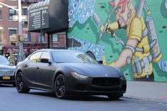Maserati Quattroporte with matte black wrap with gloss trim, logo and accents. Matte Black Wrap, Maserati Quattroporte, Custom Wraps, Gallery, Vehicles, Car, Automobile, Roof Rack, Autos