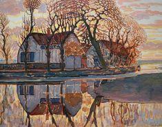 Mondrian Landscapes | 164. Piet Mondriaan - Farm near Duivendrecht 1916