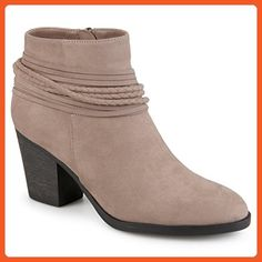 Journee Collection Womens High Heeled Strappy Chunky Heel Ankle Booties  Taupe 8 - Boots for women