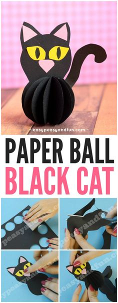 Cute Paper Ball Black Cat Halloween Craft for Kids
