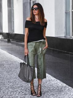 culottes with off shoulder top