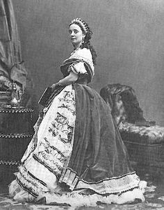 Princess Laetitia Marie, Princess of Solmes and Countess Rattazzi, nee Bonaparte, 1867. Seen here wearing a diamond and pear-shaped pearl tiara with circa fifteen upright pearl spikes