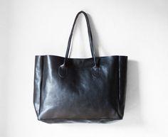 Zwart lederen Shopper Leather Tote schoudertas zwart door morelle