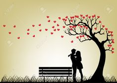 Dating Couple Silhouette Under Love Tree Royalty Free Cliparts ...