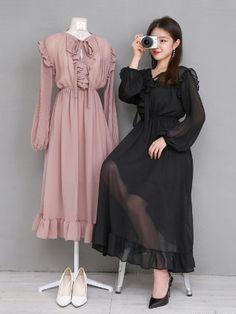 마리쉬♥패션 트렌드북! Korean Outfit Street Styles, Korean Fashion Dress, Kpop Fashion Outfits, Ulzzang Fashion, Korean Street Fashion, Muslim Fashion, Asian Fashion, Fashion Dresses, Skirt Outfits Modest