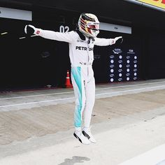 Jumpman! #Pole #Qualifying #TeamLH @mercedesamgf1 photo by @suttonimages