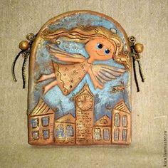 Ангел над городом, панно - голубой,ангел,город,ангел-хранитель,пано,часы