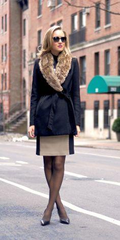 The Classy Cubicle {fur collar wrap coat + colorblock dress}