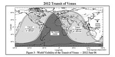 "Will you be able to see the transit of Venus on June 5-6, 2012? This map gives you the lowdown. (Credit: Fred Espenak) ©Mona Evans, ""Transit of Venus - Measuring the Solar System"" http://www.bellaonline.com/articles/art28229.asp"