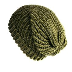 cf21af26 Khaki green slouchy beanie hat, acrylic wool beanie, unisex winter hat,  loose knit slouch hat, fits adults and teens