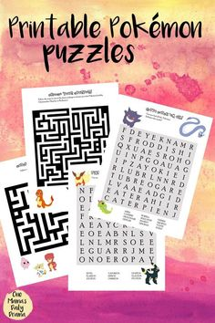 Printable Pokemon Puzzles - 2 of each, mazes and word search for little kids and big kids who love Pokemon GO