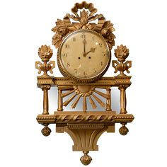 A 19th C. Swedish Wall Clock #swedish #midcentury #gold #clock #antique #rare #ornate #19thcentury (via @1stdibs)