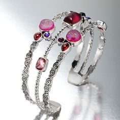 Sajen 21.85 CTTW Multi-Gem Pink Scroll Cuff Bracelet | AtAuction.com