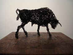 Galvinised wire #sculpture by #sculptor Emma Walker titled: 'Wire BULL (SOLD Angry Snorting statuette sculptures)'. #EmmaWalker