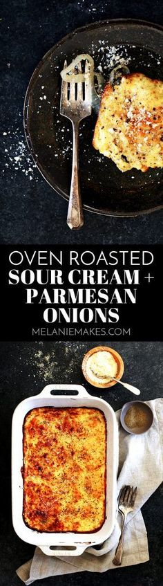 These five ingredient Oven Roasted Sour Cream and Parmesan Onions are an easy side dish that is perfect for any night of the week and equally special at a holiday dinner table.  Onion rounds are drizzled in olive oil and oven roasted before being slathered in a sour cream and Parmesan cheese sauce and baked until golden brown.