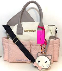 cb5214e1f52d BETSEY JOHNSON Diaper Bag Tote Pink White Baby Shower Weekender Travel Gift  NWT