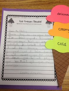 Persuade me to buy you an ice cream assignment. Free printables for the assignment.