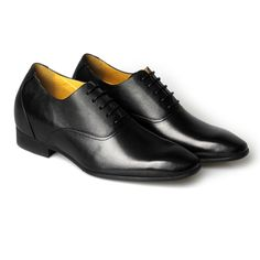 Black Calfskin Leather Men Height Dress Shoes Increased Height:7.5cm (2.95 inch) (Totally invisible) MODEL: K4020; Reg: $147.00,Sale: $137.00