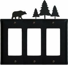 Bear & Pine Trees - Triple GFI Cover by Village Wrought Iron. $17.12. Bear & Pine Trees - Triple GFI CoverApprox. 6 1/2 In. W x 8 In. H Please allow 4 to 6 weeks for delivery.
