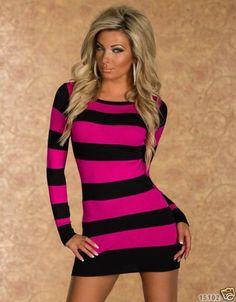 New Colour-Rosy/Black Stripes Long Sleeve Dress