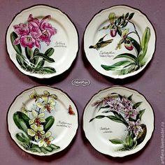 "Купить Коллекция тарелок ""Орхидеи"" - фуксия, тарелка, тарелочка, тарелки, тарелки ручной работы"