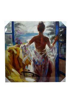 Lienzo moderno con imagen de mujer desnuda mirando el paisaje. En tonos azul, amarillo, blanco... Bastidor fabricado en madera. Medidas 100 x 100 cm.  Colócalo en el pasillo, subida de escalera, salón, sala de estar, comercio, pub... Envío gratis en 24h.