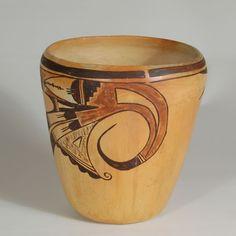Hopi-Tewa Polychrome Cylindrical Jar by Nampeyo of Hano - C3801D #adobegallery #NampeyoPottery #NampeyoofHano #HopiPuebloPottery #HopiPueblo #SouthwestIndianPottery