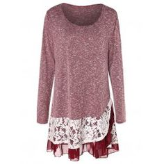 9e6f48f8e1a Plus Size Lace Trim Tunic Knitwear - Red Wine 5x Rayon Others Plus Size  Sweaters