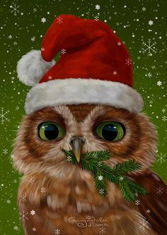 AZQSD Christmas Diamond Portray Animal Owl Handmade Diamond Mosaic Full Structure Image Of Rhinestones Needlework Dwelling Decor Christmas Animals, Christmas Art, Owl Pet, Bright Art, Owl Pictures, Wise Owl, 5d Diamond Painting, Pics Art, Christmas Pictures