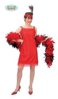Entièrement rouge, cette jolie robe de danseuse de Charleston brille de mille feux grâce à ces paillettes !  Ce déguisement est composé :