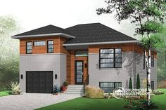 POPULAR SPLIT-LEVEL HOME DESIGN REVISITED IN CONTEMPORARY STYLE !  Contemporary 3 bedroom Split-level house plan, kitchen with large kitchen island and a garage  http://www.drummondhouseplans.com/house-plan-detail/info/logan-contemporary-1003130.html