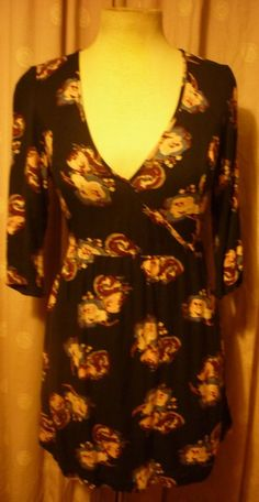FAT FACE MINI TEA DRESS 3/4 SLEEVES BLACK WITH WINTER FLORALS UK10