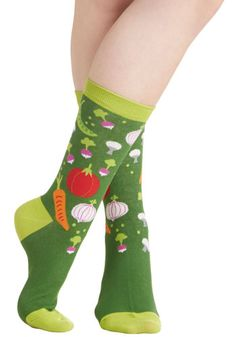 Just Vegging Out Socks. Get your daily dose of fashion nutrients by wearing these green veggie-print socks! #green #modcloth