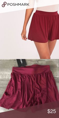 Floaty burgundy shorts Never worn. Extremely soft fabric. Still has original tags Shorts
