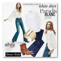 """#Wardrobe Staples - White Shirt II"" by nikkisg ❤ liked on Polyvore featuring Notify, Maison Margiela, Magdalena Frackowiak and WardrobeStaples"