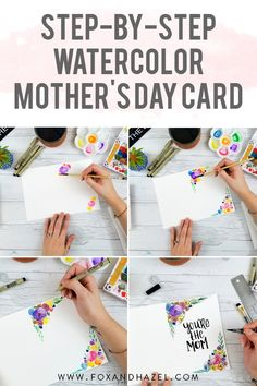 Easy Step-by-Step Watercolor Mother's Day Card | Fox + Hazel