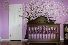 This is the purple I want on the walls!  I'm thinking purple wall, dark brown tree to match the espresso crib, and pink butterflies all around the room and tree, and a pink owl somewhere on the tree... I would put this in my room, I guess I'm a baby/child at heart and art. TFS.