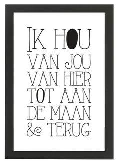 zwart wit poster ik hou van jou van hier tot aan de maan en terug sascrea http://www.sascrea.nl/zwartwitposterikhouvanjouvanhiertotaandemaanenterug.nl