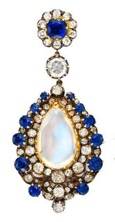 Sapphire, Diamond & Moonstone Ear Pendant
