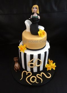 #60th Birthday Cake - Gold and Black cake for a glamorous lady who likes #meerkats