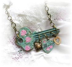 Vintage Key Charm Necklace Mother Hearts Shabby Chic Pink Painted Roses Endearing