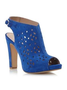 Pied a Terre Letha laser cut heeled sandals Blue - House of Fraser