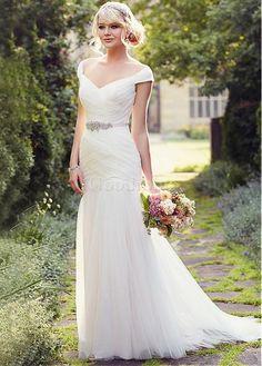 Robe de mariée de col carré avec manche en tulle de luxe - photo 1