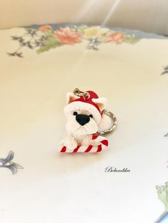 Christmas West Highland White terrier keychainsanta