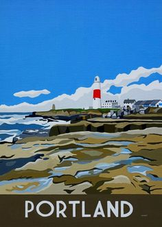 Vintage inspired painting of Portland Bill Lighthouse by artist Richard Watkin. Original painting and prints available www.watinart.co.uk