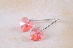 Valentine Heart Earrings Beadwork Swarovski Earrings Peach Rose Spring Jewelry. $15.00, via Etsy.