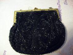 Vintage Black Seed Bead Purse, Antique Black Seed Purse, Vintage Black Bag by vintagecitypast on Etsy